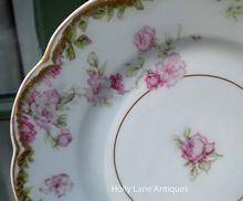 Rare Version Of Schleiger 39 -    Antique Haviland Limoges Plate -    Pattern Is Schleiger #39 On The Double Gold Trimmed Scalloped Star Blank -    Haviland Schleiger #39 Is A Pattern Of Pink Roses Touched With Lavender Blue Along With Green Leaves On A Scalloped Embossed Blank -    Schleiger 39A Adds To This Charming Pattern A Border Of Green Rose Leaves Just Below The Double Gold Trim And An Inner Gold Ring -    Elegant Antique Haviland!!    $52.00