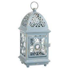 Blue Jeweled Mini Lantern- also comes in white and bronze. Perfect with white string lights for Ramadan decor!