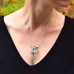 TWO ON A SWING silver pendant Ready to Ship by WingedLion on Etsy