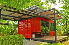 Would make fun modern lake house! Red Shipping Container Home