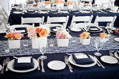 CHOOSE SIZE RUNNER Damask Kimono Navy Blue on White Runner Wedding Bridal Oriental Look