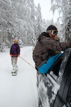 Ride through fairytale forest scenery to Gaiziņš Mountain - Dāmu Paradīze (Ladies Paradise) Snowboard resort, Latgale, Latvia.