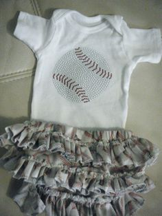Baby girl baseball onesie/matching ruffled by darlingdivacreations, $27.00