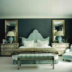 mirror, wall colors, color schemes, blue, dark walls, master bedrooms, bedside tables, night stands, upholstered headboards