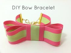 handmade bow bracelet. Think of the possibilities! Red-white-and-blue, school colors, etc. it's do-able.