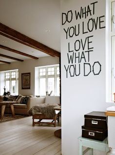 Deco tape easy wall art & a positive message to boot. For those without the budget for big wall decals. Do What You Love, Love What You Do. #DIY #apartment_design #cheap_and_easy #decotape #wall_decal