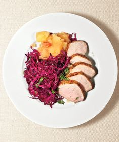 Pork Tenderloin With Red Cabbage and Applesauce Recipe from realsimple.com. #myplate #protein #vegetables