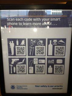 TSA embraces QR Codes! QR Codes in the Wild #QRCodes pic.twitter.com/... - Thanks to @denajill