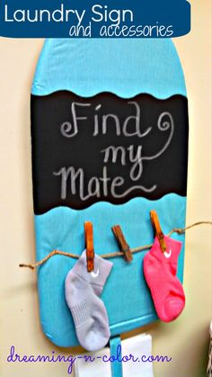 If you're like me then you spend too much time in the laundry room for it to not look cute. These are some simple and fun ideas! | Chalkboard Laundry Sign and Accessories by Dreamingincolor on Old Time Pottery's Do More for Less