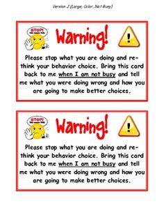 WARNING CARDS (A CLASSROOM MANAGEMENT TOOL!) - TeachersPayTeachers.com