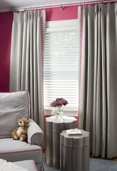 Suzie: Liz Carroll Interiors - Chic pink and gray nursery design with Peony pink walls paint ...