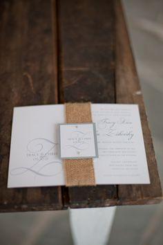 Rustic Burlap Wedding Invitation