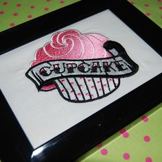 Cupcake Framed Embroidery by livingthread on Etsy