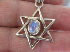 Jewish holidays soon! - Sterling Silver Star of david Moonstone pendant - Jewish symbolic - Bar mitzvah gift
