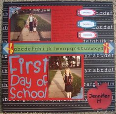 First Day of School scrapbook layout
