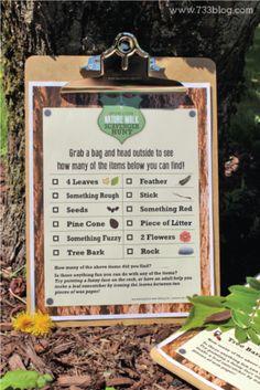 natur walk, scavenger hunts, scaveng hunt, campground scavenger hunt, kid