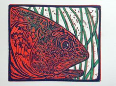 Costal Red  reduction linocut print by Jonathan Marquardt