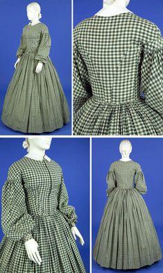 Circa 1860-1865 green and white gingham check hand-sewn cotton dress, via Ohio State Univ.