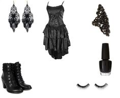 rock outfit, cloth, dress outfits, gothic outfit, black dress, short dress, occas dress
