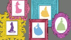 INSTANT DOWNLOAD Disney Princess Silhouette Wall Art Digital Print File 11 Princesses (Now With Merida) with Song Titles on Etsy, £3.28