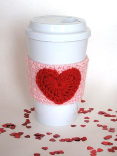 Crocheted Valentine's Heart Coffee Cup Cozy by TheEnchantedLadybug, $11.00 #ValentinesDay #etsy #shopping #gifts