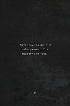 my own soul.