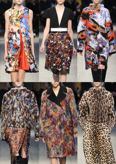 Sportmax A/W 2014/15-Jackson Pollock Expression – Paint Splattering's – Drips and Squiggles – Speedy Brush marks – Dense Texture – Vibrant Mark-making – Multicoloured Paint Palettes – Mottled Texture – Leopard Spots