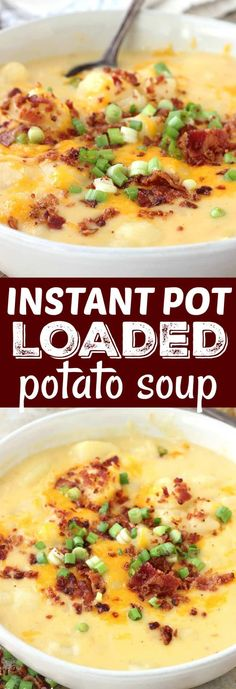 My family LOVES this Instant Pot Loaded Potato Soup. It's so creamy and full of flavor; plus ready in a flash! #instantpot #soup #instantpotrecipes belleofthekitchen.com