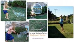 Wow kids of all ages with BIG bubbles. What a fun summer vacation or sleepover project!