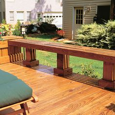 Use deck seating to create a barrier for the edge of your deck as well as to proved extra seating.