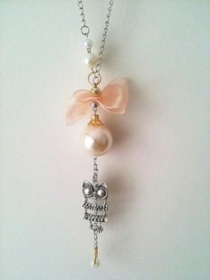Owl Necklace with pink bow and white beads by ArtofAccessory, $23.99