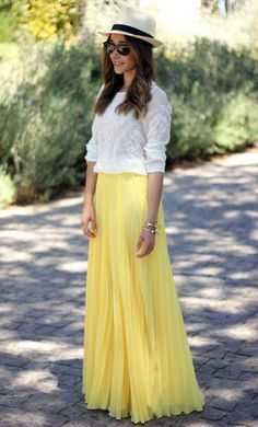 summer styles, maxi dresses, fashion, yellow maxi, blous, street styles, summer outfits, hat, maxi skirts