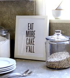 Eat More Cake Letterpress Print by Read Between The Lines decor, kitchens, kitchen idea, cakes, cake letterpress, eat, letterpress print, prints, apart