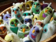 Cute little felted owls.