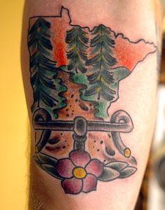 Minnesota Bike Woods Tattoo by John Laramy, Northeast Tattoo, Minneapolis, MN, Twin Cities, Bicycle