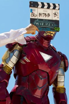 Iron Man - Behind the scenes of 'The Avengers' set.