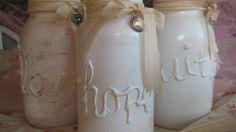 I hot glued words then spray painted jars white, added shimmer, vintage ribbon and trinket