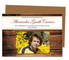 Graduation Announcements Templates : Printable DIY Moments Wooden Style Design Graduation Announcement Template