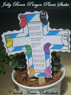 Jelly Bean Prayer Cross Plant Stake Craft for Kids for Easter.