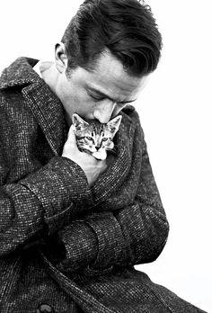 Joseph Gordon-Levitt. Holding a kitten.