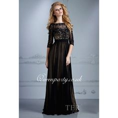 Black Long Sleeve Beaded Prom Dress With V Back