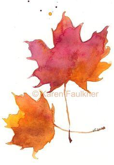 """Two Maples"" Autumn leaf watercolor print by Karen Faulkner (karenfaulknerart) on Etsy, $15 watercolor art, autumn leaves, art gicle, art prints, leav art, watercolor leav, leaf art, watercolor inspir, gicle print"