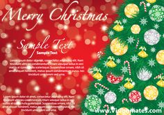 Green Merry Christmas tree on red blurred background 2013 with gold, green and grey  tree balls, gold jingle bells and other Christmas ornaments. Great Christmas 2013 card on red background with realistic green Christmas tree, download in Adobe Illustrator format.