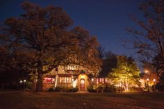The exterior beauty of the Estate all lit up at night is beautiful. The Grove Redfield Estate Northwest Chicago. Wes Craft Photography.
