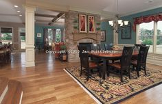 Open Kitchen Family Area Room   dining room to family room   photography by Jan Stittleburg