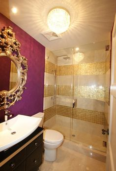 Like the precious metal, gold tile looks expensive and luxurious, so it's a perfect choice for a spa-like bathroom fit for royalty. You can coordinate the tile with bathroom fixtures and accessories for a room that sparkles.