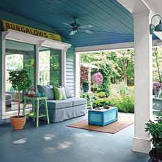 cool porches, apparently the blue keeps away bugs and such... + wards off evil spirits from entering your home! Southern tradition