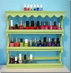 Spice rack turned into nail polish organization. Doing this soon. Need more fun stuff on my bathroom walls, and this is functional too!