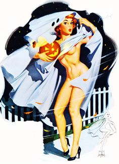 Vintage Halloween Pin-up by Bill Randall