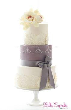 Lace & Dots cake etcgreysilv, sweet, cake idea, elegant cakes, cake decor, wedding cakes, white cakes, amaz cake, dot